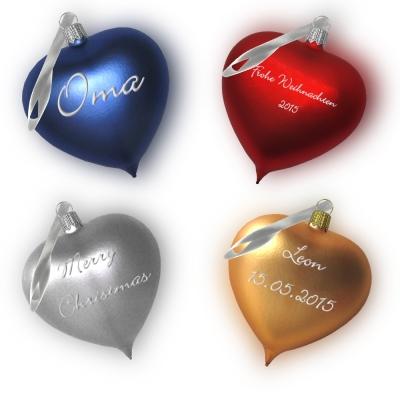 Familienset mit 4 Weihnachtsherzen